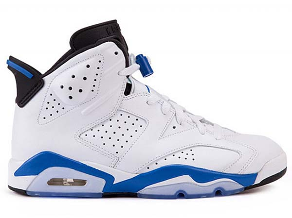 NIKE AIR JORDAN 6 RETRO [WHITE / SPORT BLUE-BLACK] 384664-107
