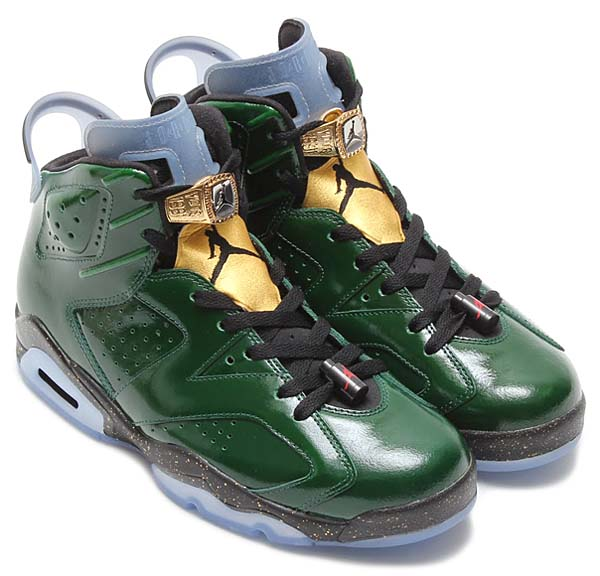 NIKE AIR JORDAN 6 RETRO CHAMPIONSHIP CHAMPAGNE [PURE GREEN / METALLIC GOLD-CHALLENGE RED-BLACK CHAMPAGNE] 384664-350