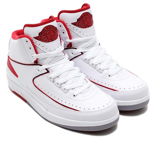 NIKE AIR JORDAN 2 RETRO [WHITE / BLACK-VARSITY RED-CEMENT GREY] 385475-102