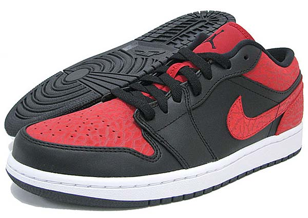 NIKE AIR JORDAN 1 LOW [BLACK/BLACK/GYM RED/WHITE] 553558-013