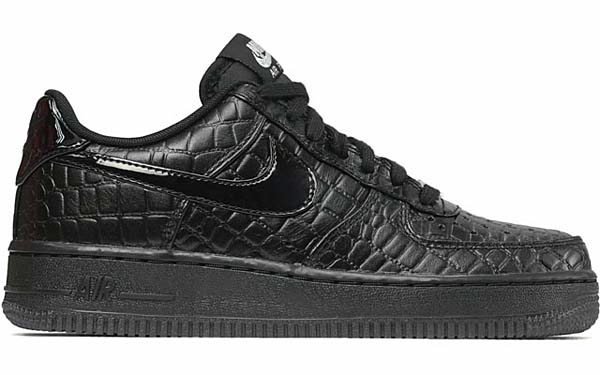 NIKE WMNS AIR FORCE 1 07 PRM [BLACK / BLACK - METALLIC SILVER] 616725-002
