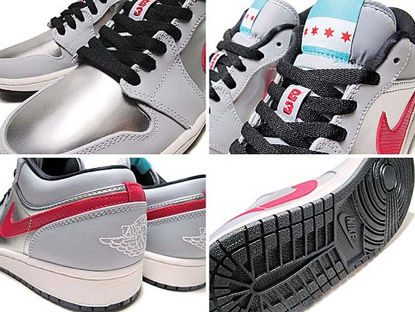 NIKE AIR JORDAN 1 LOW CITY PACK-CHICAGO [WOLF GREY / GYM RED-METALLIC SILVER-BLACK] 641888-005