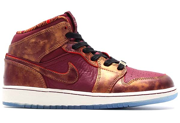 NIKE AIR JORDAN 1 MID BHM GS [DEEP GARNET/DEEP GARNET-METALLIC GOLD-WHITE] 647562-605