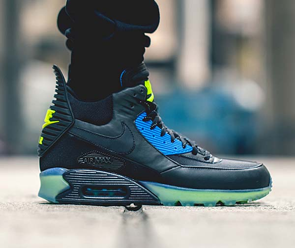 NIKE AIR MAX 90 SNEAKERBOOT ICE [BLACK / BLACK-DARK ASH-PHT BLUE] 684722-001