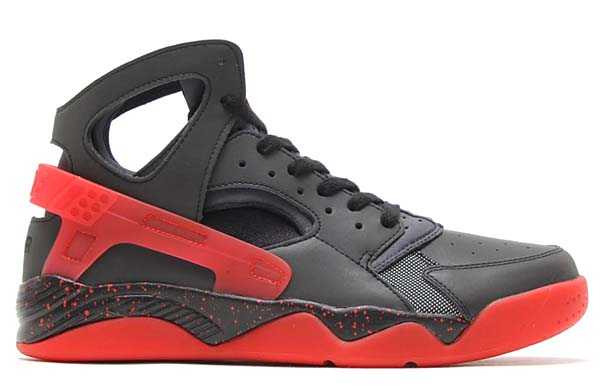 NIKE AIR FLIGHT HUARACHE PRM QS LOVE & HATE [BLACK / ANTHRACITE - CHALLENGE RED) 686203-001