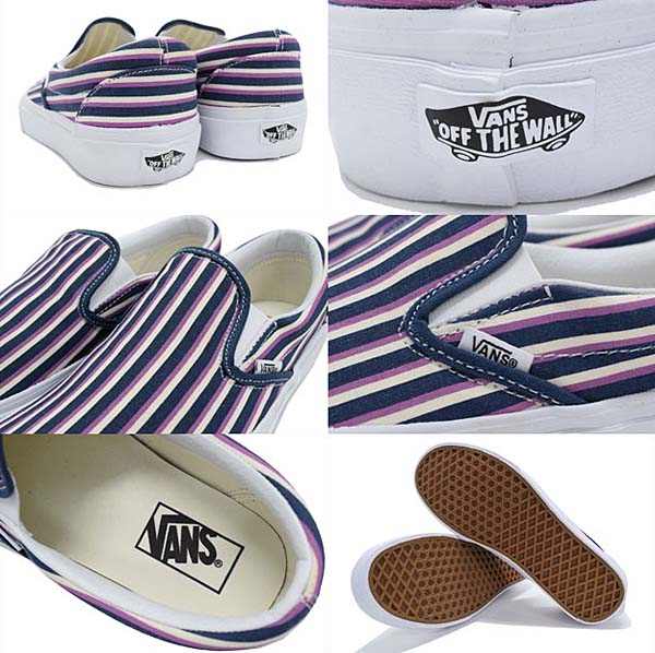 VANS CLASSIC SLIP-ON [BLUE / RADIANT ORCHID MULTI STRIPES] 0ZMRFIB