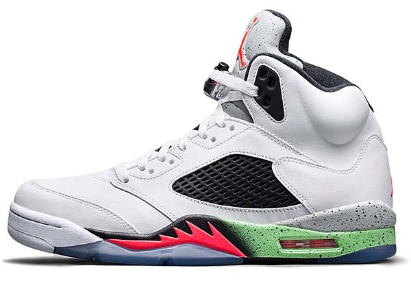 NIKE AIR JORDAN 5 RETRO [WHITE / INFRARED 23-LIGHT POISON GREEN-BLACK] 136027-115