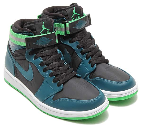 NIKE AIR JORDAN 1 HIGH STRAP [BLACK / TEAL-WHITE-LIGHT GREEN SPARK] 342132-013