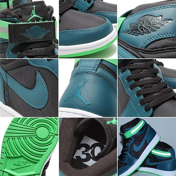 NIKE AIR JORDAN 1 HIGH STRAP  BLACK   TEAL-WHITE-LIGHT GREEN SPARK d7eb57430265