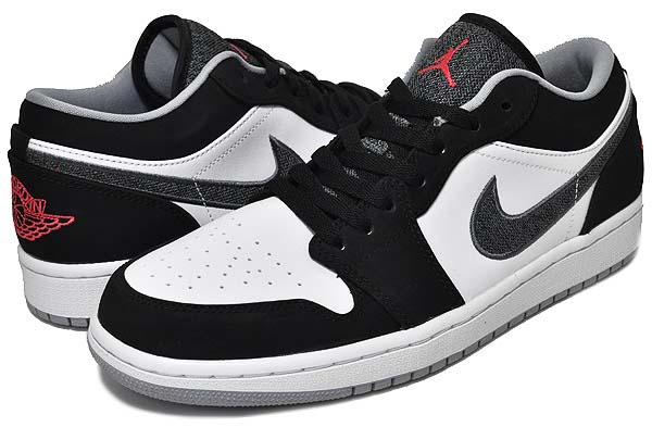 NIKE AIR JORDAN 1 LOW [BLACK / WHITE-WOLF GREY-INFRARED 23] 553558-029