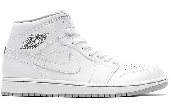 NIKE AIR JORDAN 1 MID [WHITE /WHITE-WOLF GREY] 554724-112