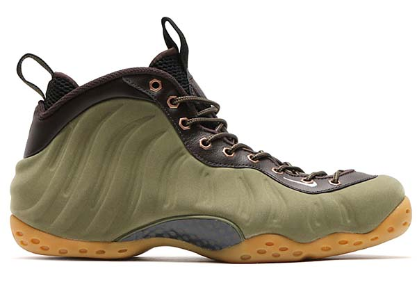 NIKE AIR FOAMPOSITE ONE PRM [MEDIUM OLIVE / LIGHT BROWN-VELVET BROWN-BLACK] 575420-200