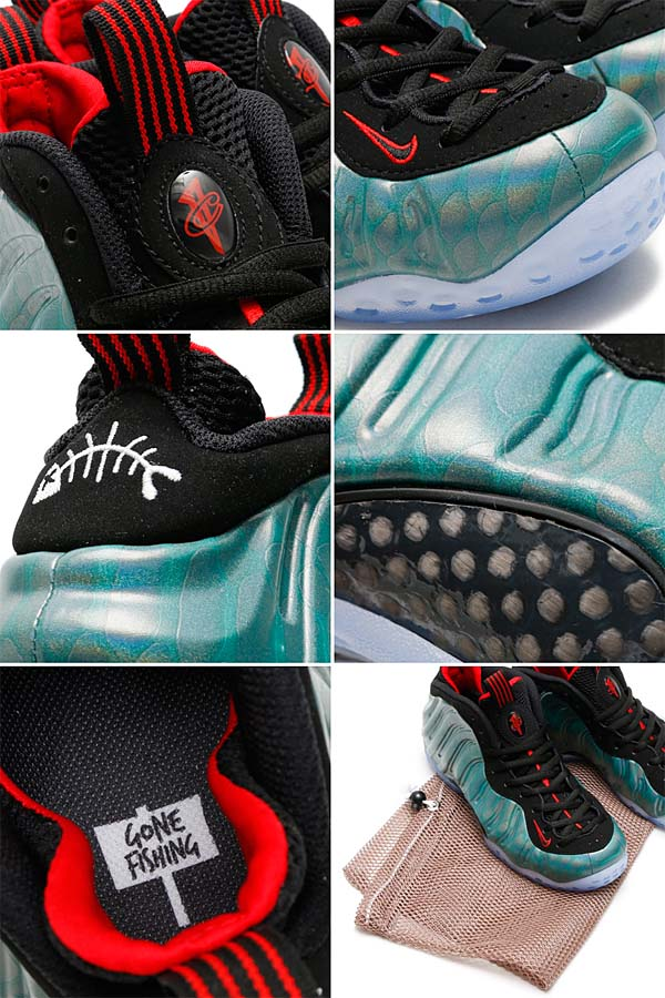 NIKE AIR FOAMPOSITE ONE PRM GONE FISHING [DARK EMERALD / BLACK-CHALLENGE RED] 575420-300