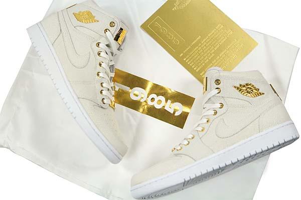 NIKE AIR JORDAN 1 PINNACLE [WHITE / WHITE-METALLIC GOLD] 705075-130