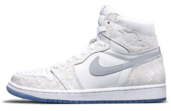 NIKE AIR JORDAN 1 RETRO HI OG LASER 30th ANNIVERSARY [WHITE / METALLIC SILVER] 705289-100