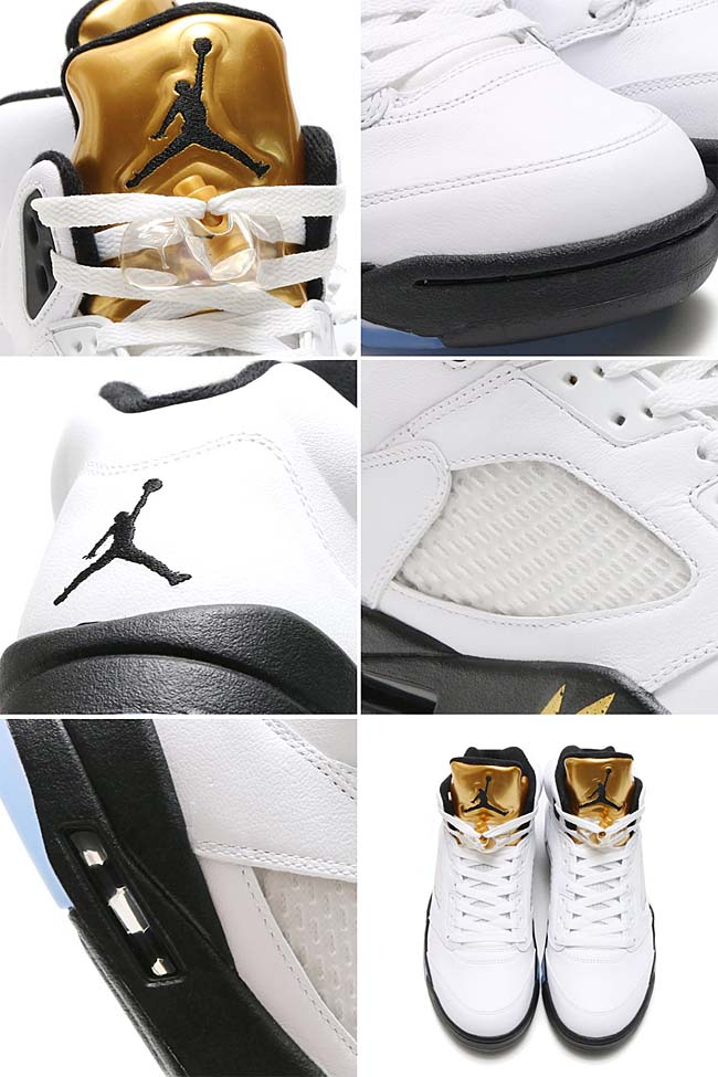 NIKE AIR JORDAN 5 RETRO OLYMPIC [WHITE / BLACK-METALLIC GOLD COIN] 136027-133