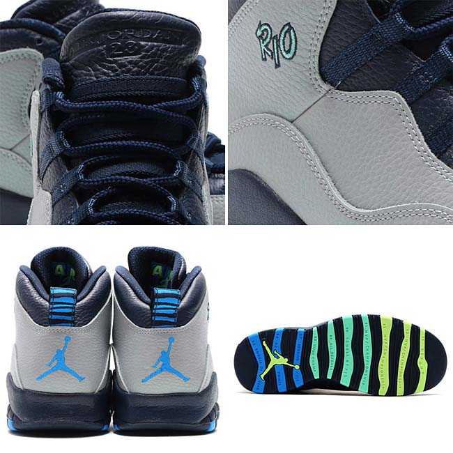 NIKE AIR JORDAN 10 RETRO [WOLF GREY / PHOTO BLUE-OBSIDIAN-GREEN GLOW-GHOST GREEN] 310805-019