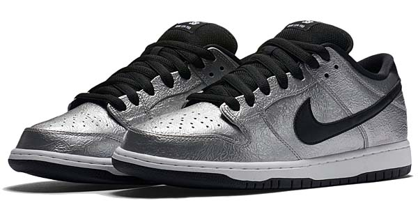 NIKE DUNK LOW PREMIUM SB COLD PIZZA [METALLIC SILVER / BLACK-WHITE] 313170-024