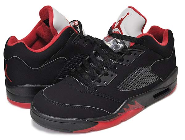 NIKE AIR JORDAN 5 RETRO LOW ALTERNATE 90 [BLACK / GYM RED / METALLIC HEMATITE] 313170-222