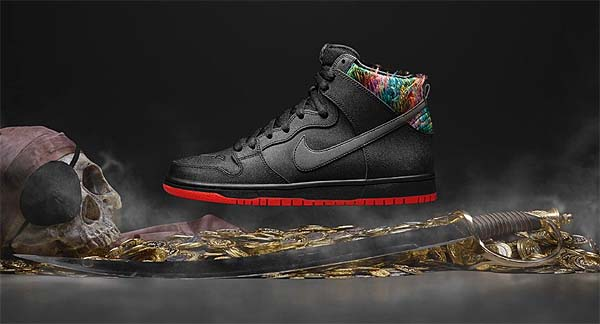 NIKE DUNK HIGH PREMIUM SB SPoT [BLACK / BLACK-CHALLENGE RED-METALLIC SILVER] 313171-028