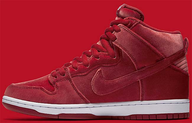 NIKE SB DUNK HIGH PREMIUM Red Velvet [GYM RED / GYM RED-WHITE] 313171-661