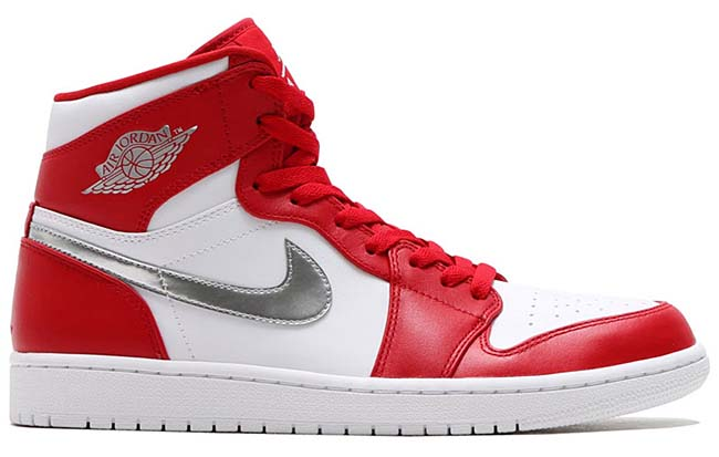 NIKE AIR JORDAN 1 RETRO HIGH [GYM RED / METALLIC SILVER-WHITE] 332550-602