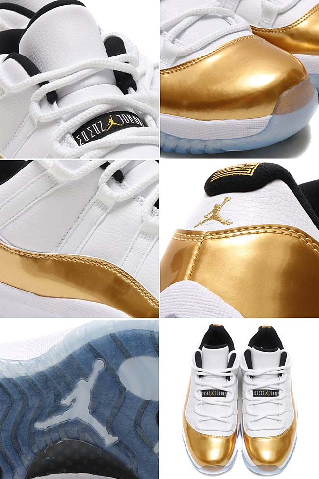NIKE AIR JORDAN 11 RETRO LOW [WHITE / METALLIC GOLD COIN-BLACK] 528895-103