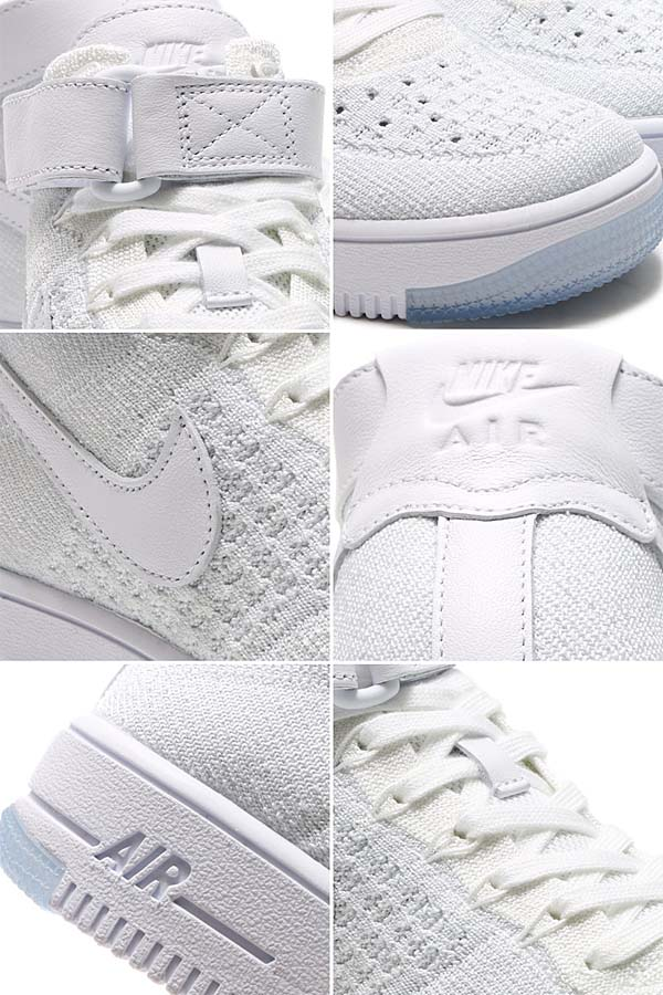 NIKE AIR FORCE 1 ULTRA FLY KNIT MID [WHITE / WHITE-PURE PLATINUM] 818018-100