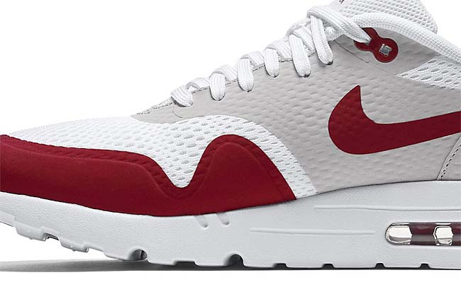 NIKE AIR MAX 1 ULTRA ESSENTIAL [WHITE / GREY / VARSITY RED] 819476-106