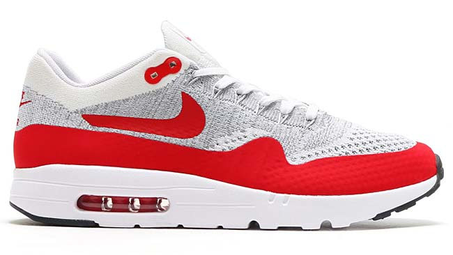 NIKE AIR MAX 1 ULTRA FLYKNIT [WHITE / UNIVERSITY RED-PURE PLATINUM-COOL GREY-WOLF GREY-BLACK] 843384-101