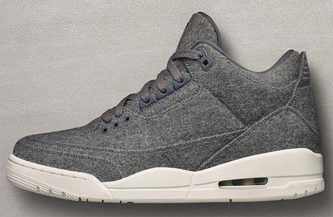 NIKE AIR JORDAN 3 RETRO WOOL [DARK GREY / DARK GREY-SAIL] 854263-004