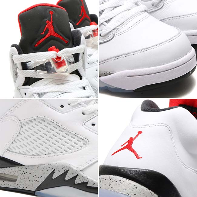 NIKE AIR JORDAN 5 RETRO [WHITE / UNIVERSITY RED-BLACK-MATTE SILVER] 136027-104