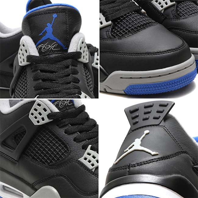 "NIKE AIR JORDAN 4 RETRO ""MOTORSPORT AWAY""[BLACK / GAME ROYAL-MATTE SILVER-WHITE] 308497-006"