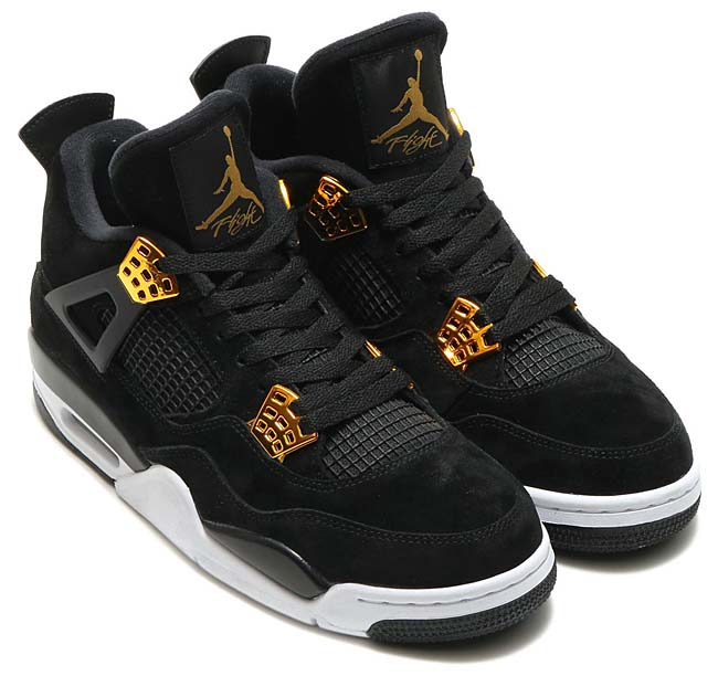 "NIKE AIR JORDAN 4 RETRO ""ROYALTY"" [BLACK / METALLIC GOLD-WHITE] 308497-032"