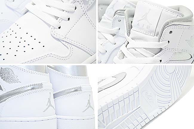 "NIKE AIR JORDAN 1 MID ""PURE MONEY"" [WHITE / METALLIC SILVER-WHITE] 554724-105"