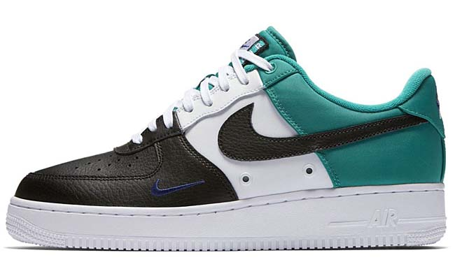 NIKE AIR FORCE 1 07 LV8 [BLACK / DEEP ROYAL BLUE-NEPTUNE GREEN] 823511-002