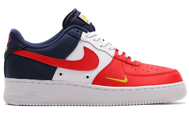 NIKE AIR FORCE 1 07 LV8 [UNIVERSITY RED / UNIVERSITY RED-MIDNIGHT NAVY-UNIVERSITY GOLD-PURE PLATINUM-WHITE] 823511-601