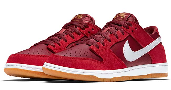 NIKE SB ZOOM DUNK LOW PRO [TRACK RED / WHITE-CEDAR-GUM LIGHT BROWN] 854866-616