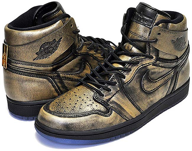 "NIKE AIR JORDAN 1 RETRO HIGH OG ""WINGS"" [BLACK / BLACK-METALLIC GOLD] aa2887-035"