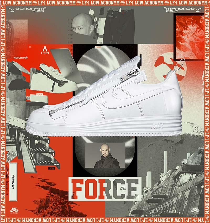 "NIKE LUNAR FORCE 1 ""ACRONYM"" [WHITE / WHITE-WHITE] aj6247-100"