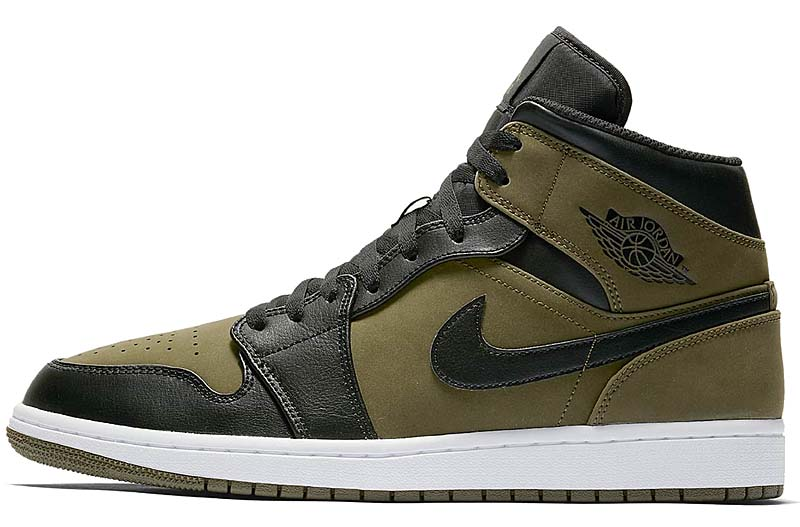 NIKE AIR JORDAN 1 MID [OLIVE CANVAS / BLACK-WHITE] 554724-301