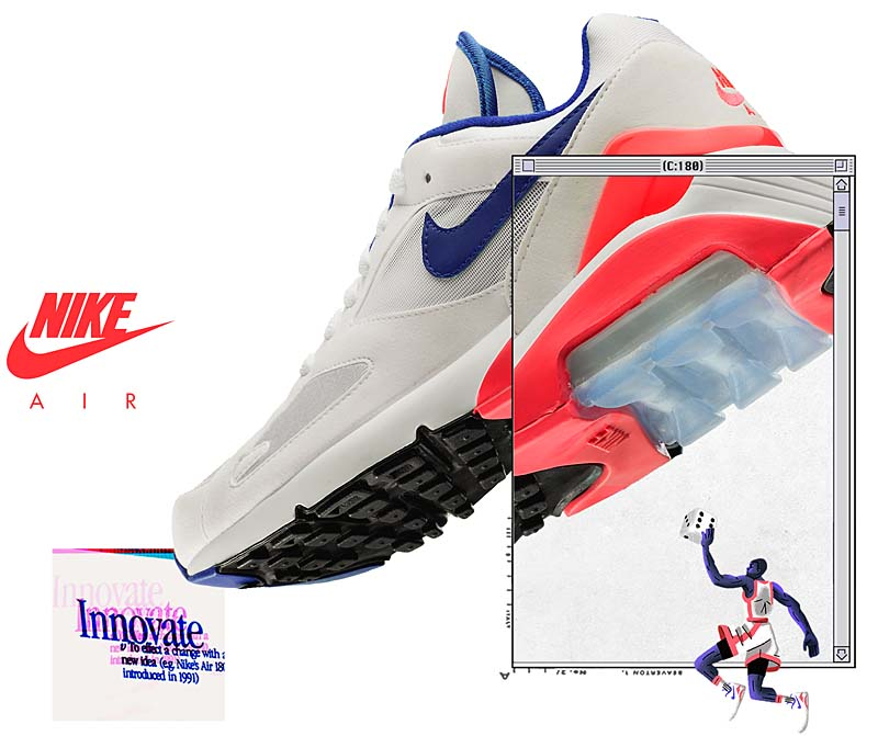 Nike Air Max 180 White Ultramarine Solar Red | Footshop