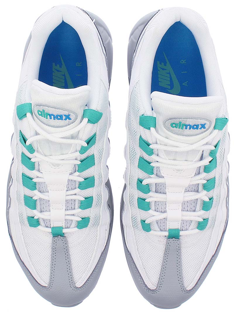NIKE AIR MAX 95 ESSENTIAL [LIGHT PUMICE / CLEAR EMERALD / WHITE] 749766-032 ナイキ エア マックス 95 エッセンシャル 「ホワイト/グレー/グリーン」