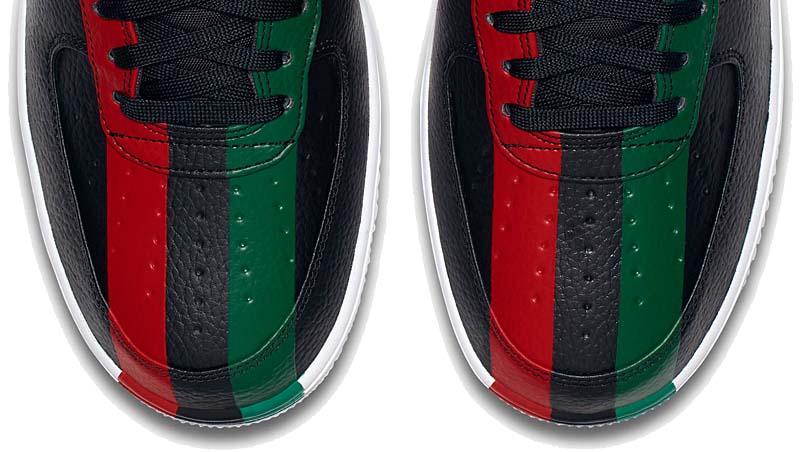 NIKE AIR FORCE 1 HIGH BHM QS [BLACK / UNIVERSITY RED / PINE GREEN] 836227-002