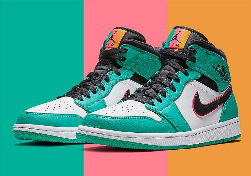 NIKE AIR JORDAN 1 MID SE SOUTH BEACH [TURBO GREEN / BLACK-HYPER PINK] 852542-306