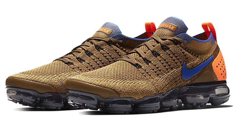 NIKE AIR VAPORMAX FLYKNIT 2 [GOLDEN BEIGE / RACER BLUE-CLUB GOLD] 942842-203 ナイキ エア ヴェイパーマックス フライニット 2 「ブラウン/ブルー/オレンジ」