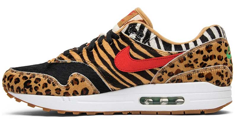 "atmos x NIKE AIR MAX 1 DLX ""Animal Pack 2.0"" [WHEAT / BISON-CLASSIC GREEN-SPORT RED] AQ0928-700"