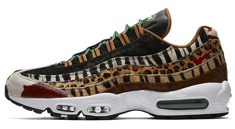 "NIKE x atmos AIR MAX 95 DLX ""ANIMAL PACK"" [WHEAT / BISON-CLASSIC GREEN-SPORT RED] AQ0929-200"
