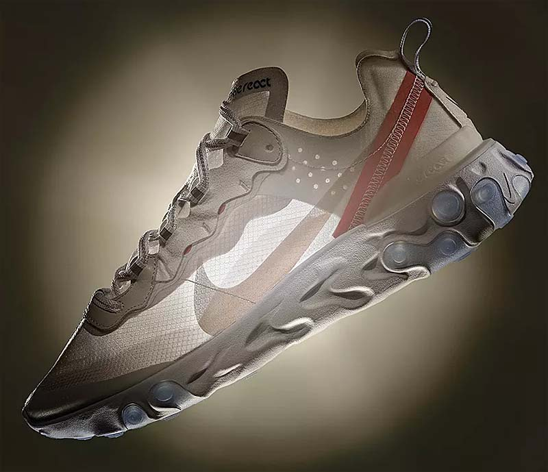 NIKE REACT ELEMENT 87 [SAIL / LIGHT BONE - WHITE RUSH ORANGE] AQ1090-100