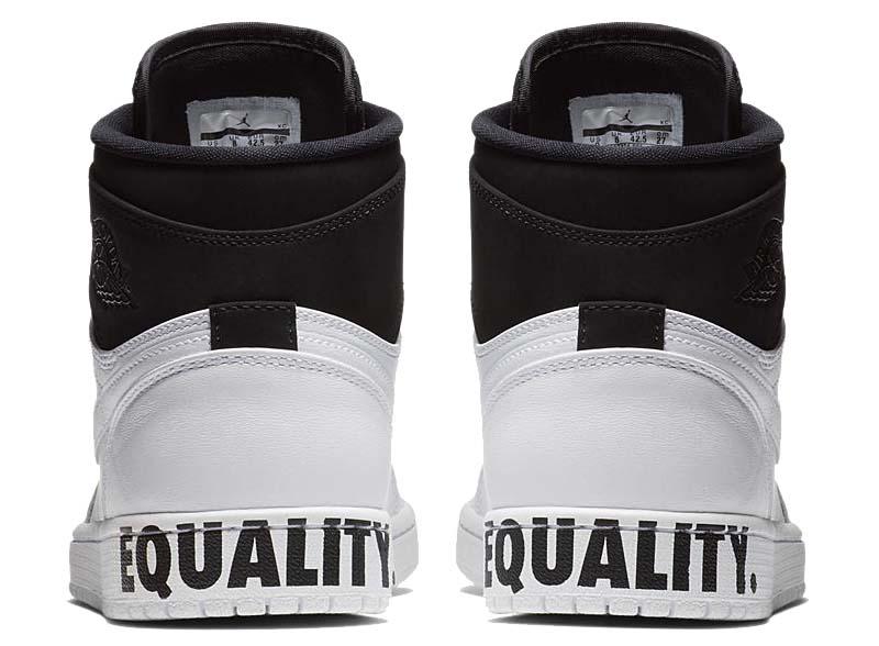 "NIKE AIR JORDAN 1 RETRO HIGH ""EQUALITY"" [BLACK / BLACK-WHITE-MTLC GOLD] AQ7474-001"